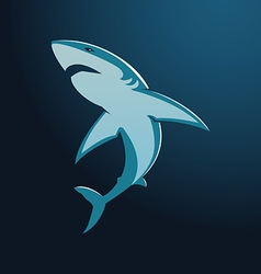 Great white shark sign logo on blue background vector image vector image