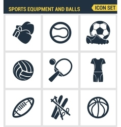 Icons set premium quality of sports equipment and vector image vector image