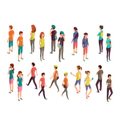 Isometric 3d people young casual persons vector