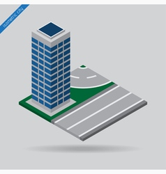 Isometric city - road with skyscraper vector