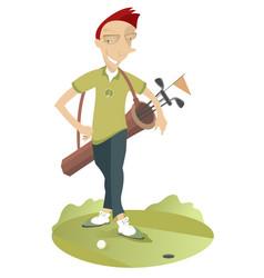 Man play golf isolated vector
