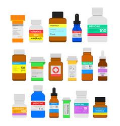 medicine bottles flat set vector image vector image