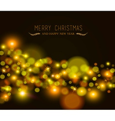Merry christmas new year bokeh light greeting card vector