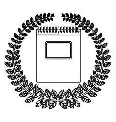 Monochrome silhouette with olive crown and spiral vector