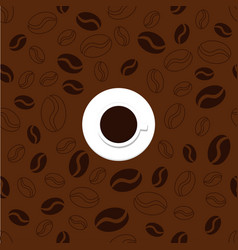 pattern with cup and coffee vector image vector image