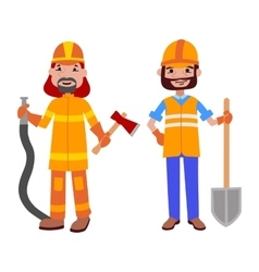 People builder and firefighter professions vector image