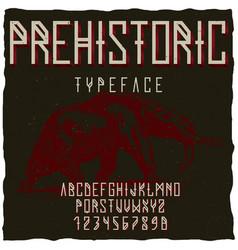 Prehistoric runes typeface poster vector