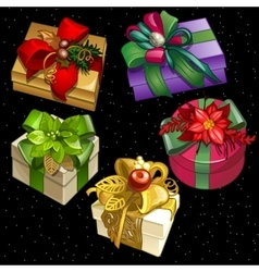 Set of five boxes of different colors and shapes vector image vector image