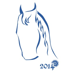 Sign of new year - blue horse head vector