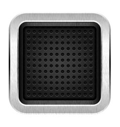Square blank chrome metal icon empty web button vector