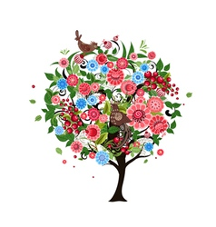 tree flowers vector image