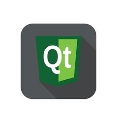 Web development shield sign - qt technology vector