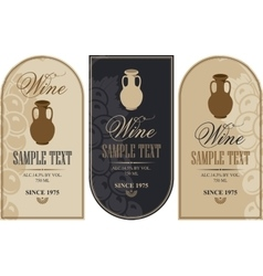wine labels with a clay jug vector image vector image