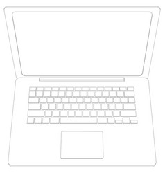 Wire-frame open laptop top view vector