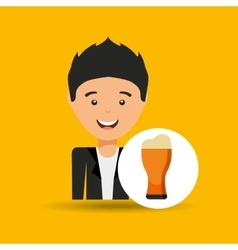 Young boy fathers day celebration beer vector