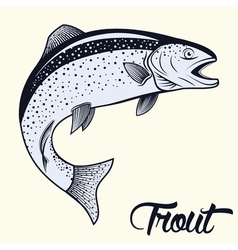 Jumping trout isolated vector
