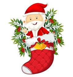 Santa in red sock vector