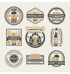 Craft beer vintage isolated label set vector image