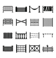 Fencing icons set simple style vector