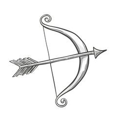 Sketch cupid bow and arrow vector