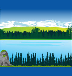 Landscape of the mountains and big yard in wood vector