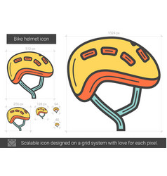 Bike helmet line icon vector