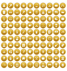 100 north america icons set gold vector