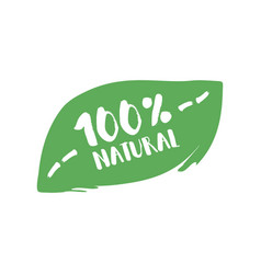 Hundred percent natural product letters in grunge vector