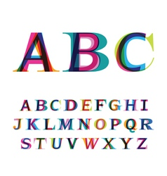 Colorful font consisting of three letters vector