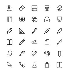 Stationery line icons 2 vector