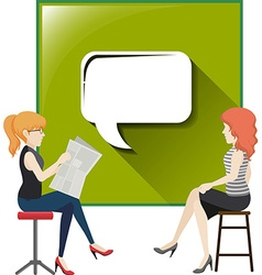 Two women with speech bubble vector