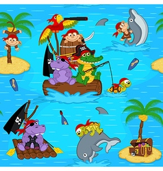 Seamless pattern with animals pirates vector