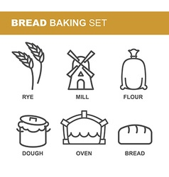 Bread baking set of icons bread production line vector