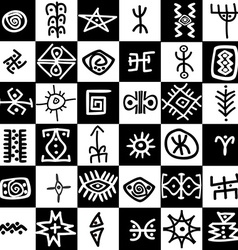 Squares background with ethnic motifs vector image