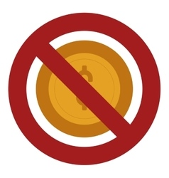 Forbidden coin with dollar sign icon vector