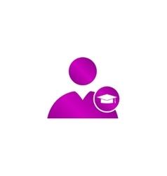 User icon graduation cap vector