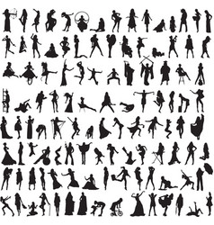 a variety of interesting silhouettes of women vector image vector image
