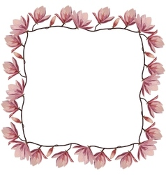 Beautiful corner frame with pink magnolia flowers vector image