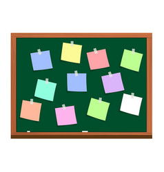 Blackboard with post it notes vector