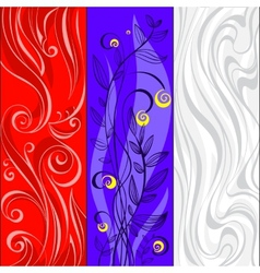Collection of abstract banners with floral and vector image vector image