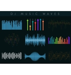 Dj sound waves set colorful abstract vector