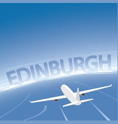 Edinburgh skyline flight destination vector