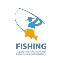 fishing logo design template fisherman vector image