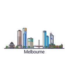 Flat line melbourne banner vector
