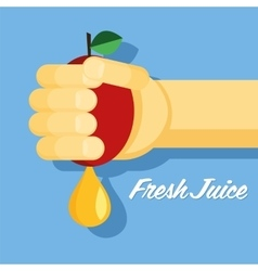 fresh juice hand with apple flat healthy food vector image vector image