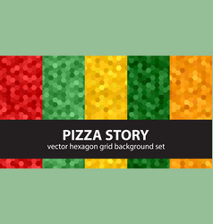 Hexagon pattern set pizza story seamless vector