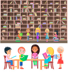 kids sitting at table in library with big bookcase vector image vector image