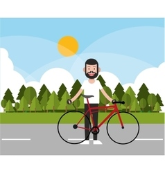 Man riding bike and landscape background design vector