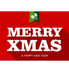 Merry christmas happy new year sign vector