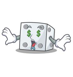 Money eye dice character cartoon style vector